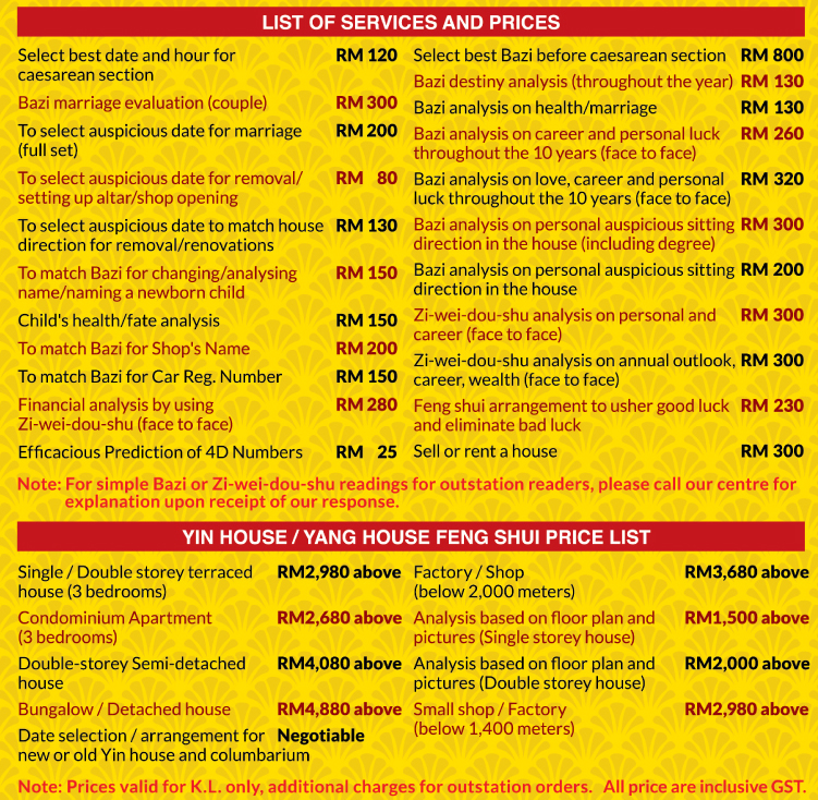 TYN FengShui Consultant Services Price List