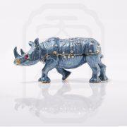 Bejewelled Rhinoceros Statue Blue-