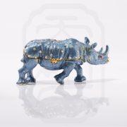Bejewelled Rhinoceros Statue Blue--2