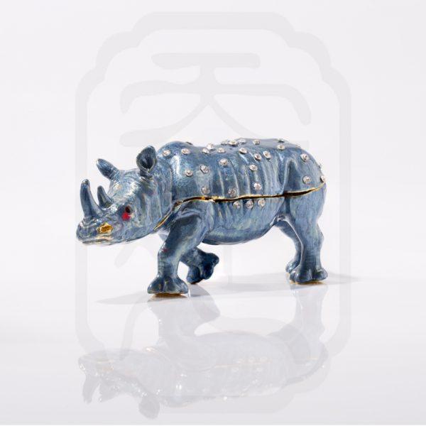 Bejewelled Rhinoceros Statue Blue--3