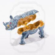 Bejewelled Rhinoceros Statue Blue-9661