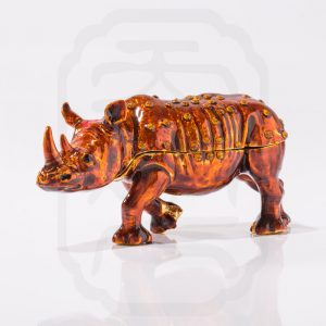Bejewelled Rhinoceros Statue Orange--3