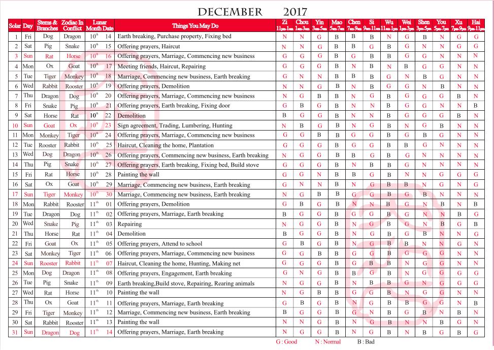 TYN FengShui Calendar December 2017