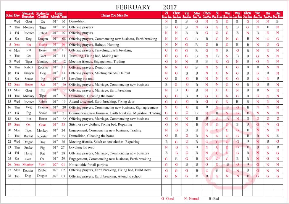 TYN FengShui Calendar Feb 2017