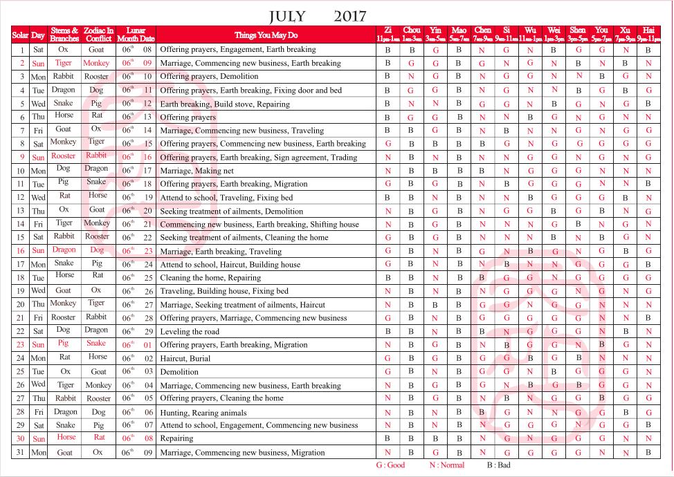 TYN FengShui Calendar July 2017