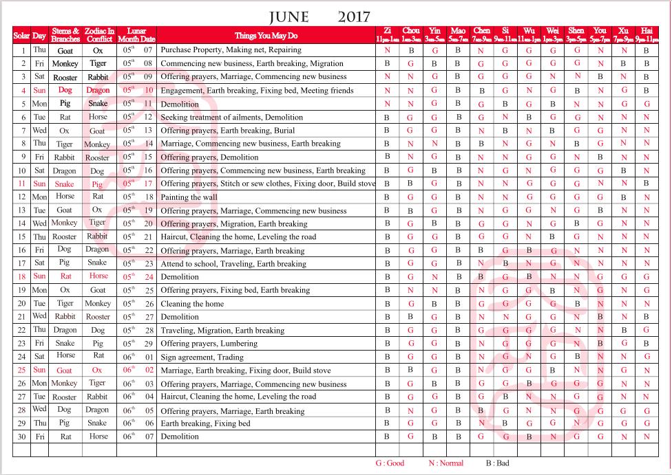 TYN FengShui Calendar June 2017