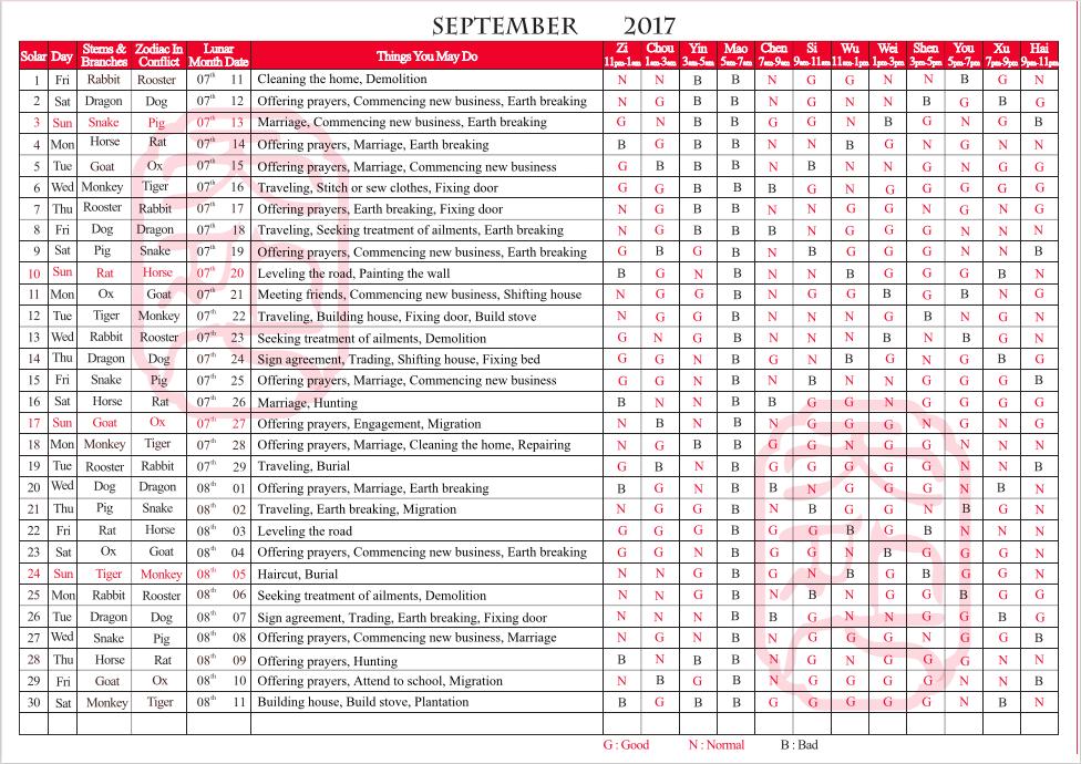TYN FengShui Calendar September 2017