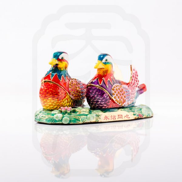 Bejewelled Mandarin Ducks Statue-